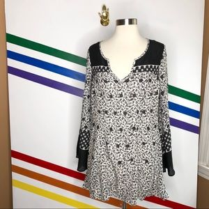 NEW Free People printed bell sleeve tunic dress